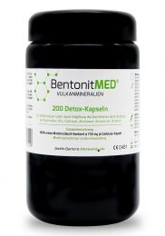 Bentonite MED® 200 detox capsules in violet glass, Medical device